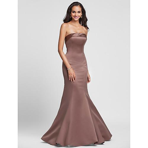 Длинное сатиновое платье русалка для свидетельницы Lightinthebox 2921.000