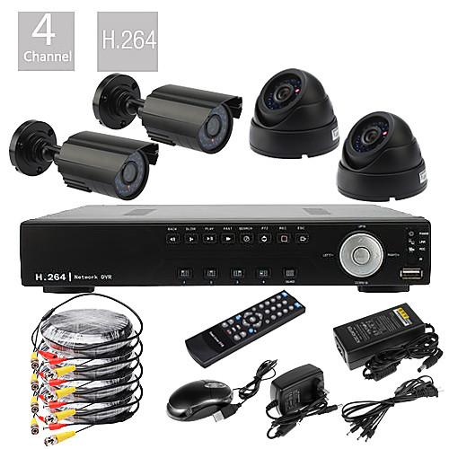 4-канальн. система наблюдения DVR D1 H.264 (4 600 ТВ-линий водонепроницаемые дневные и ночные камеры CMOS) Lightinthebox 5156.000