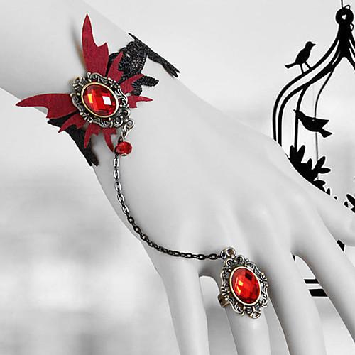 кровавая бабочка черного кружева Готическая Лолита браслет кольца