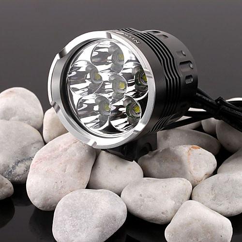 4 режимный велосипедный светодиодный фонарь 6xCree XM-L T6 холодного-белого цвета (3500LM, 4x18650, черный) Lightinthebox 3007.000