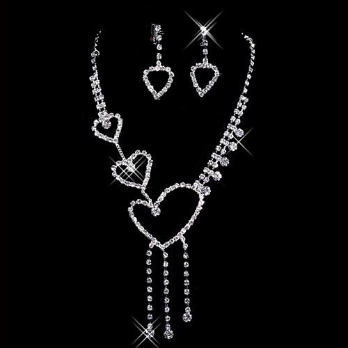 Прекрасный горный хрусталь серебрение сплава комплект ювелирных изделий венчания включая серьги, ожерелья Lightinthebox 270.000