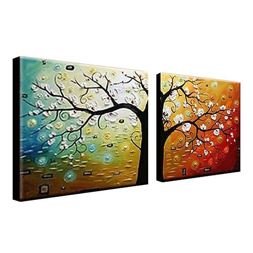 ручной росписью маслом ботанических Цветущее дерево с растянутыми кадр Набор 2 1307-bo0156 Lightinthebox 4296.000