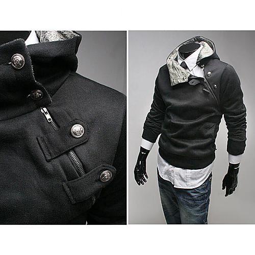 Мужской черный хлопковый худи с воротником-стойкой и застежкой сбоку Lightinthebox 987.000