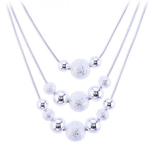 Жен. Заявление ожерелья Слоистые ожерелья длинное ожерелье Плавающий Шарообразные Дамы Мода Бабушка Стерлинговое серебро Серебристый Сплав Белый Ожерелье Бижутерия Назначение фото
