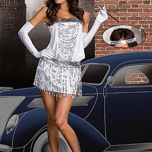 Sexy Girl белые кисти серебряный костюм спандекс билетершей Lightinthebox 858.000