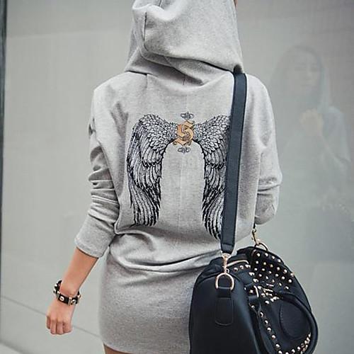 Толстовка женская с капюшоном и принтом крыльев на спине Lightinthebox 921.000