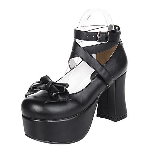 Ручной работы черного цвета кожи PU 9.5cm коренастый пятки Готическая Лолита обувь Lightinthebox 3007.000