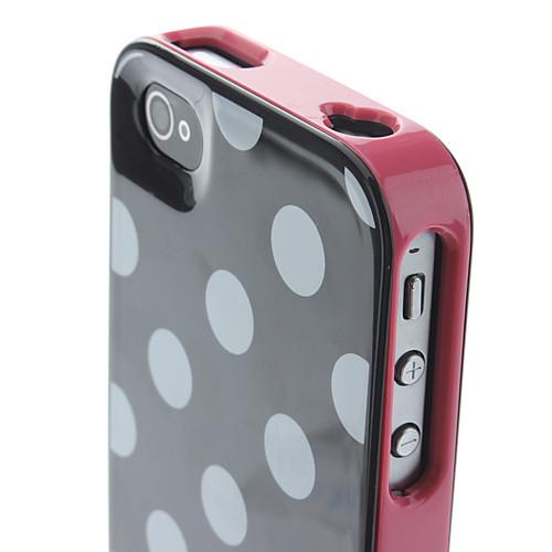 Съемная розовых кадров в белый горошек обложка Жесткий чехол для iPhone 4/4S Lightinthebox 169.000