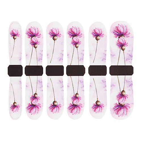 3D Полное покрытие ногтей воды Передача наклейки C8 Серый Фиолетовые цветы Lightinthebox 85.000