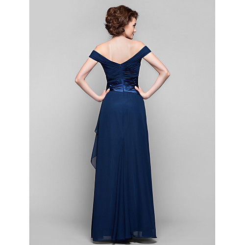 Платье для дам из шифона со спущенными плечами, длина до пола, силуэт колонна