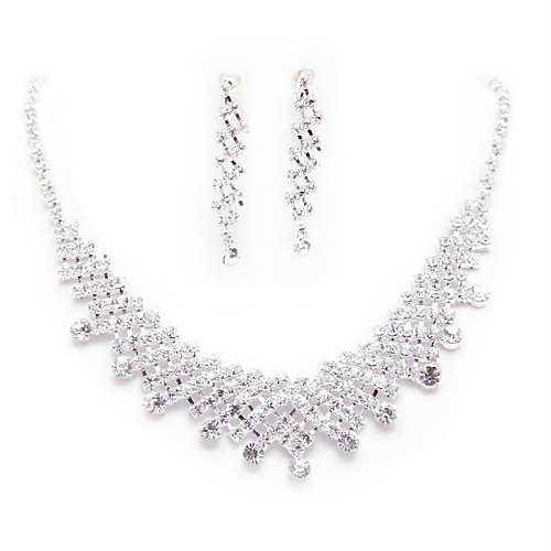 Ослепительные серебряного сплава с покрытием Rhinestone Свадьба Свадебная комплект ювелирных изделий (в том числе ожерелье, тиара и серьги) Lightinthebox 506.000