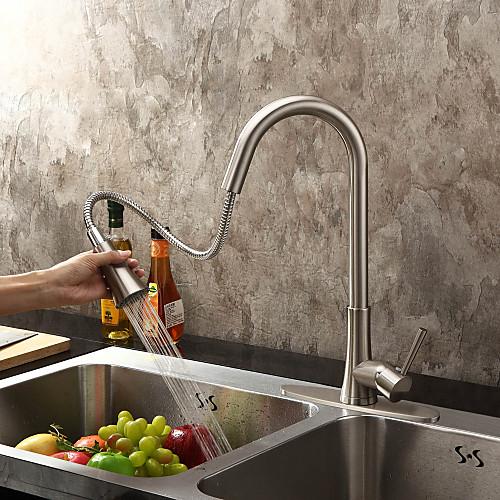 Современные никель щеткой закончить одной ручкой Pull Out кухонный кран Lightinthebox 6015.000