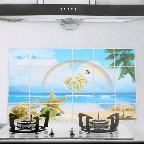 90x60cm Радуга шаблон маслостойкой Водонепроницаемый Стикер стены кухни Lightinthebox 128.000