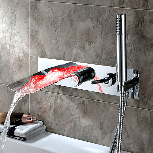 Sprinkle от LightInTheBox - Хромированное настенное крепление для ванны с ручным душем и смесителем с разноцветной LED подсветкой Lightinthebox 7218.000