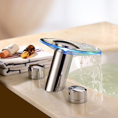 Хромированный со стеклянными вставками двухзахватный смеситель-водопад для ванной комнаты, LED-подсветка Lightinthebox 5413.000