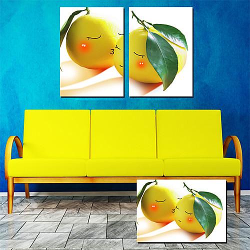 Натянутым холстом Искусство питания Поцелуй Apple, набор из 2 Lightinthebox 2148.000