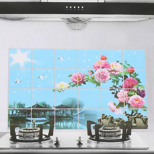 90x60cm Пейзаж шаблона Нефть-Proof Водонепроницаемый Стикер стены кухни Lightinthebox 128.000