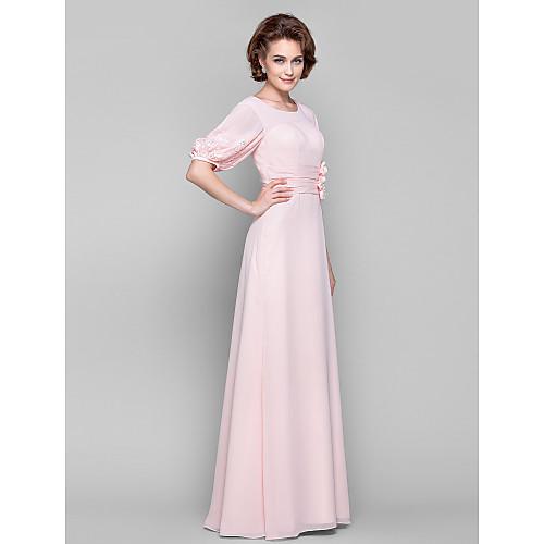 Платье из шифона для дам с 1/2 рукавами фонариками, длина до пола, силуэт колонна