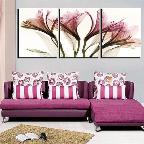Натянутым холстом Искусство Легкий цветочный цветок Набор 3 Lightinthebox 2577.000