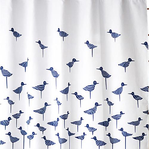 Континентальный синих птиц шаблон Водонепроницаемый Толстые полиэстера занавески для душа Lightinthebox 1374.000