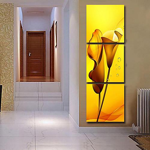 Натянутым холстом Искусство Цветочные желтые лилии Набор из 3 Lightinthebox 2577.000