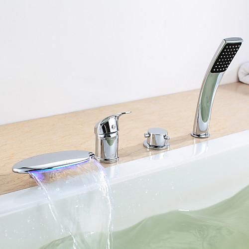 Современной хромированной отделкой тремя ручками светодиодных ванной кран с ручным душем Lightinthebox 6874.000