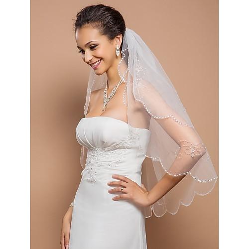 Двухуровневая пальца свадебная фата с зубчатой кромкой и блестки Lightinthebox 1503.000