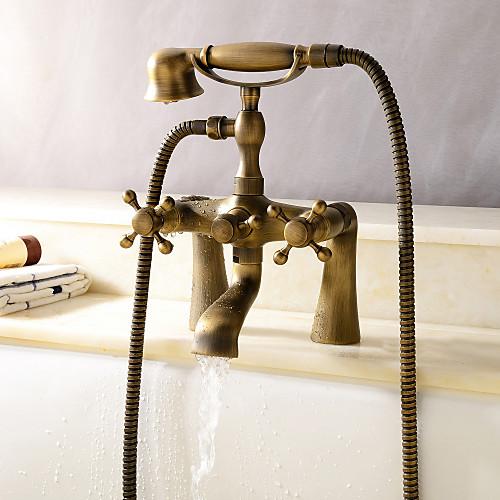 Centerset антикварных кран ванной латуни Lightinthebox