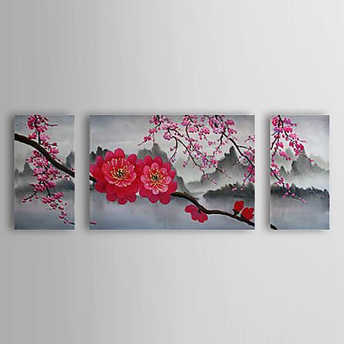 Ручной росписью маслом Цветочные Cherry Blossom с растянутыми кадр Набор из 3-1308 FL0749 Lightinthebox 4726.000