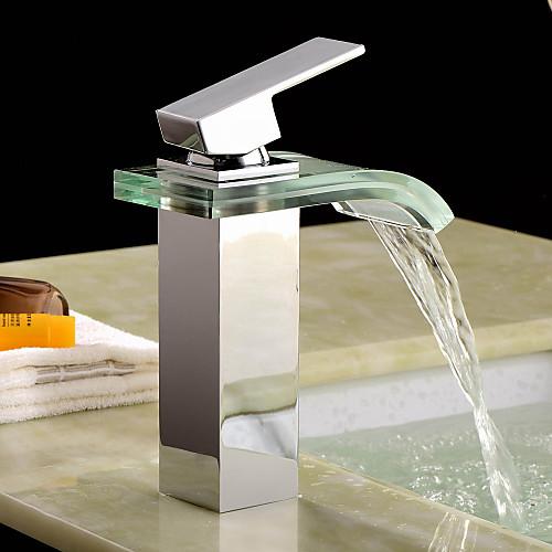 современный водопад ванной комнате раковина кран со стеклом изливом (хромированная отделка) Lightinthebox 3866.000