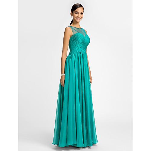Платье вечернее плиссированное из тюли и шифона для свидетельницы, длина до пола, силуэт колонна Lightinthebox 3854.000