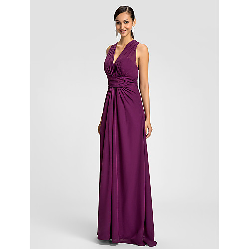 Платье для подружек невесты/для выпускного с V-вырезом, длина до пола, материал шифон Lightinthebox 3402.000