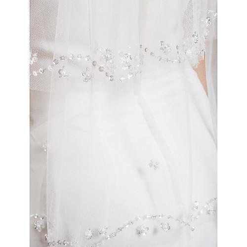 Мода двухуровневая пальца свадебная фата с бисером край и блестки и жемчуг Lightinthebox 1503.000