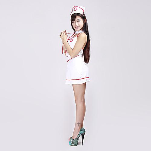 Сексуальный красную ленточку белую униформу медсестры спандекса (2 шт) Lightinthebox 1718.000