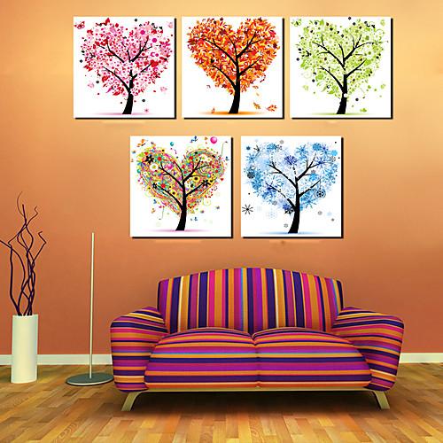 Натянутым холстом Искусство цветочные деревья Сияющий Набор из 5 Lightinthebox 4726.000