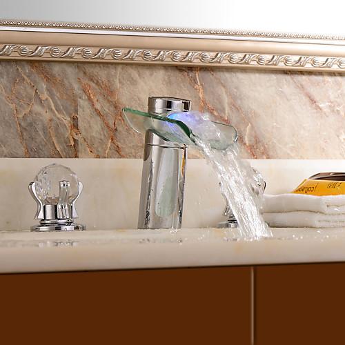 Современные хромированная отделка Две ручки светодиодные Водопад стекла Ванная раковина кран Lightinthebox 5413.000