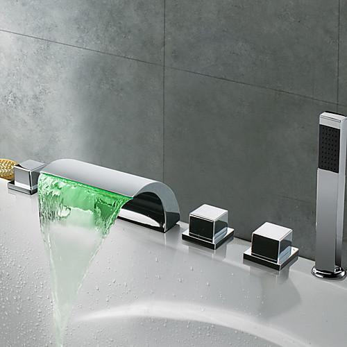 Смеситель водопад для ванной, хромированная отделка, светодиодная подсветка Lightinthebox 7304.000