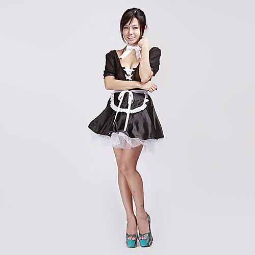 Сексуальное женское белье черного Cute Lace Up Французская горничная Хеллоуин костюм (4pieces) Lightinthebox 858.000