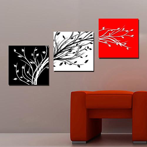 Натянутым холстом искусств Ботанический листья деревьев Набор из 3 Lightinthebox 2577.000