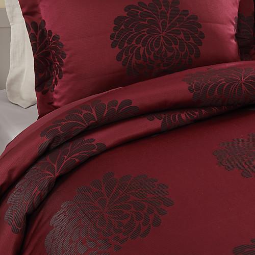 Комплект бордового постельного белья с жаккардовым переплетением (2 наволочки, 1 пододеяльник) Lightinthebox 2320.000