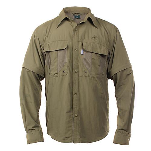 Проводник мужская рубашка Tactel съемный быстро сухой темно-зеленый, хаки, светло-серый, темно-серый Lightinthebox 1116.000
