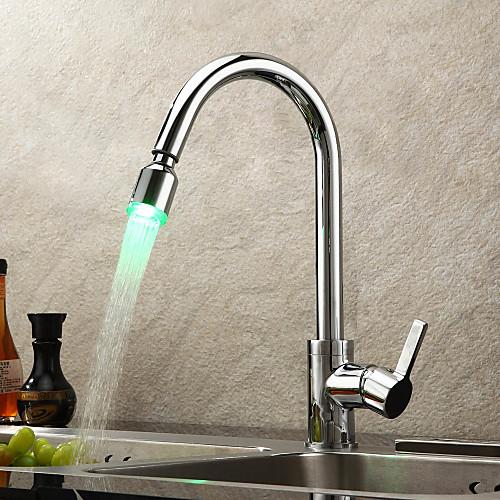 Смесители для кухни светодиоидный с выдвижным изливом и лейкой Lightinthebox 5585.000