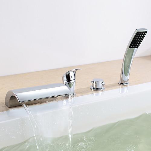 Хромированная отделка двойной Ручки четыре отверстия ванной кран с ручным душем Lightinthebox 6874.000