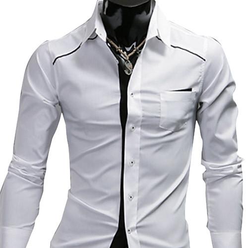 INMUR белый простой футболка с длинным рукавом Lightinthebox 515.000