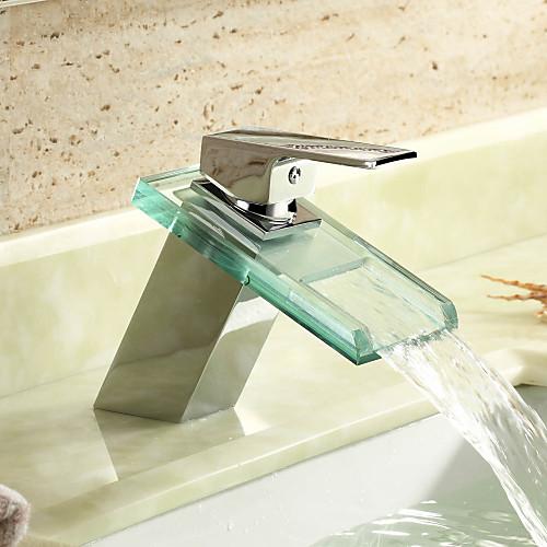 водопад ванной комнате раковина кран со стеклом изливом (хромированная отделка) Lightinthebox 3007.000