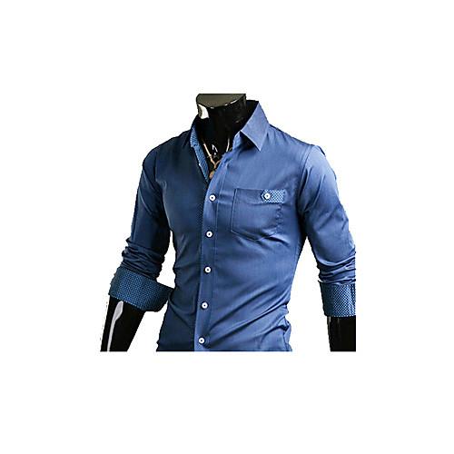 INMUR Синий кожи сшивание Полька футболка с длинным рукавом Lightinthebox 515.000