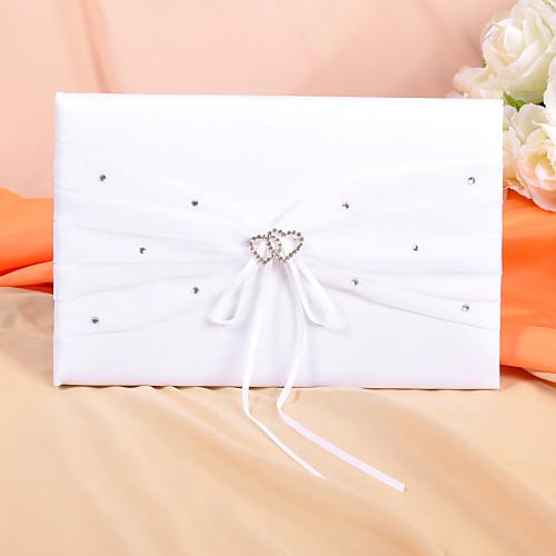 Гостевая книга и ручка для свадебной церемонии (белый атлас с отделкой стразами) Lightinthebox 794.000