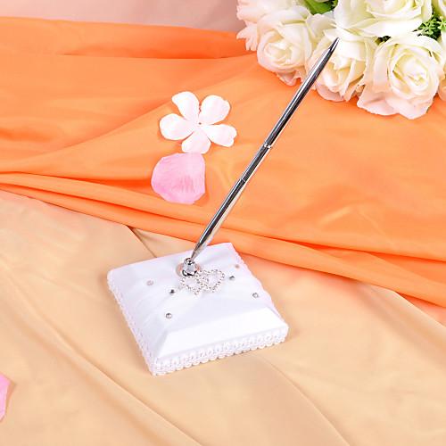 Гостевая книга и ручка для свадебной церемонии (белый атлас с отделкой стразами)