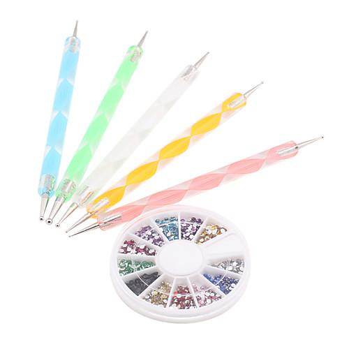 5PCS Инструменты расставить 2мм с 12-цветная Nail Art Стразы акриловые Костюм искусства ногтя Lightinthebox 278.000