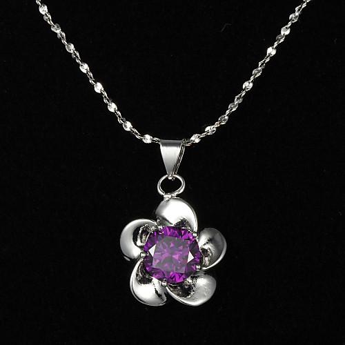 Нежный стерлингового серебра с ожерельем Фиолетовый Кристалл цветов Shaped женщин шкентеля Lightinthebox 192.000